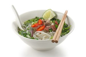 Pho bo , Vietnamese  food , rice noodle soup with sliced rare be