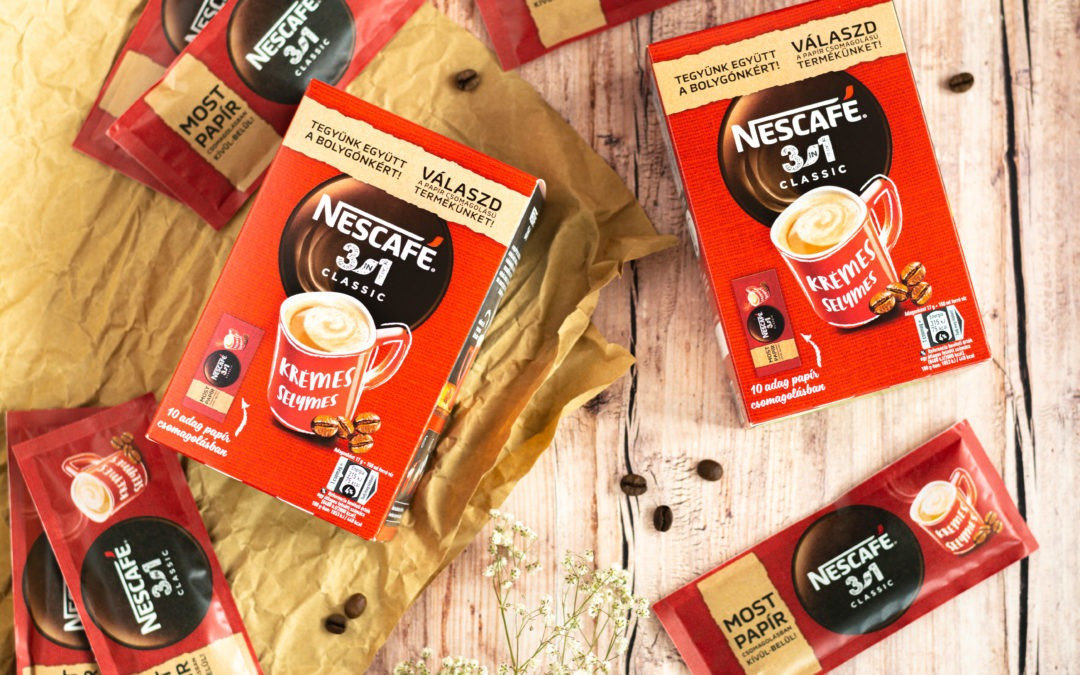 Magyarországon teszteli a NESCAFÉ 3in1 Classic papíralapú csomagolását a Nestlé